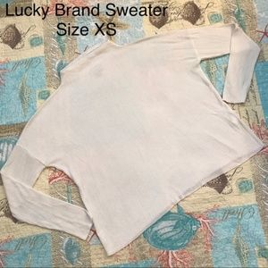 Lucky Brand All White Soft Low Collar Sweater XS